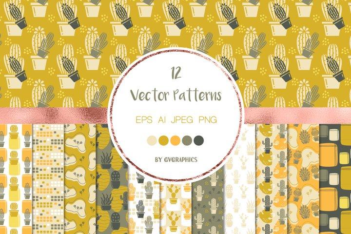 12 Desert Cacti Seamless Vector Patterns