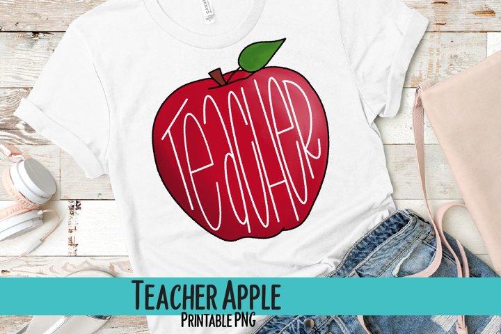 Teacher Apple Sublimation PNG