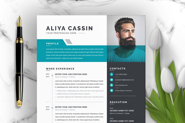 Professional Resume / CV Template with MS Word Cover Letter