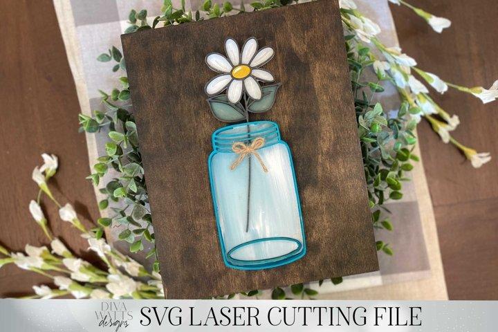 Mason Jar with Daisy Laser Cutting Design | Glowforge SVG