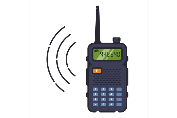 black walkie-talkie with antenna for communication over