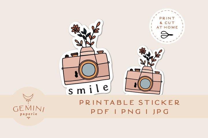 Printable Sticker   Camera Flowers Sticker for Cricut