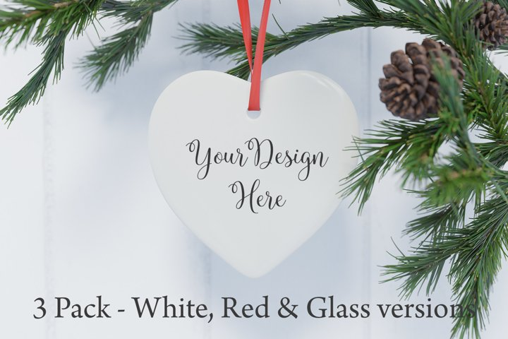 Heart shaped christmas ornament mockup - 3 versions included