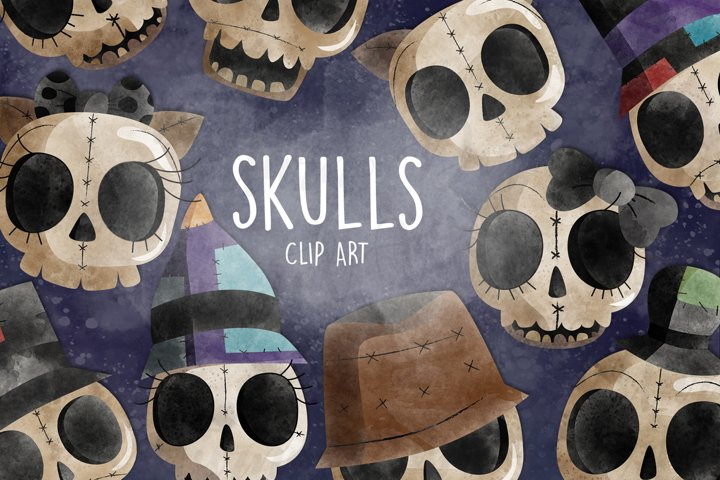 Watercolor Skull Clip Art. Skulls Clipart. Cute Skulls Files