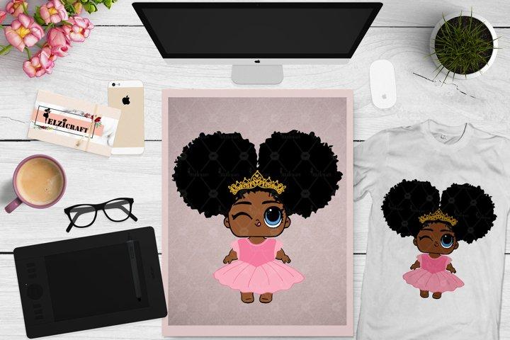 Ballerina Afro Girl, Princess, Afro Puff, Afro SVG Cut File
