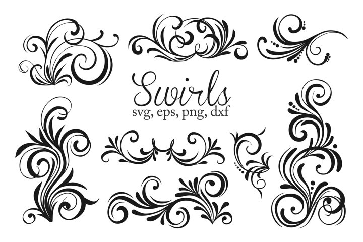 Flourishes svg, swirls svg, black and white colors