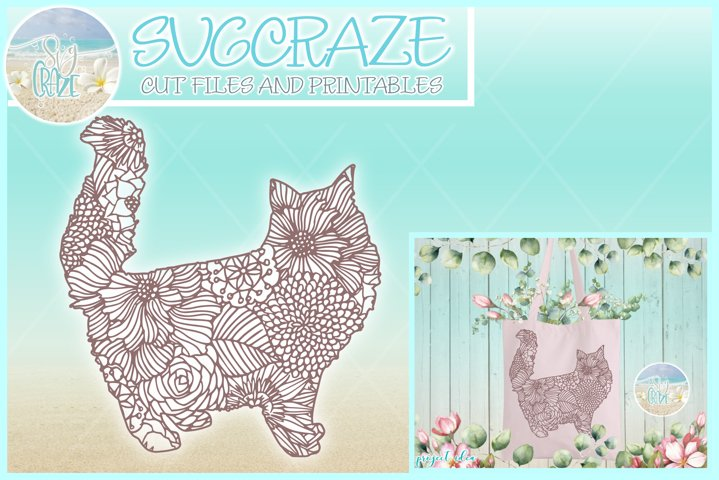 Persian Cat Mandala Zentangle SVG