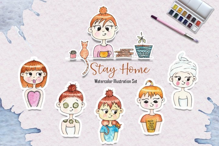 Watercolor Stay Home Girl Illustrations
