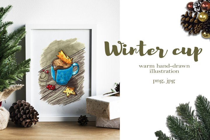 Hand-drawn illustration of winter coffee cup