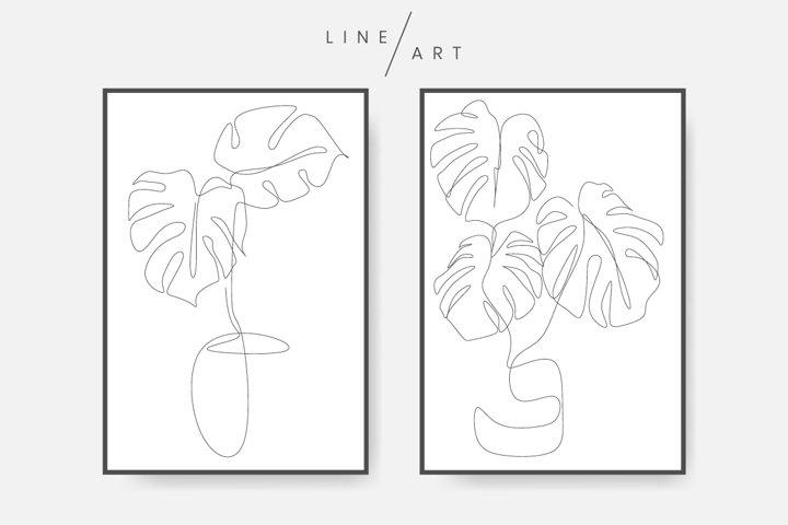 Monstera leaf line art