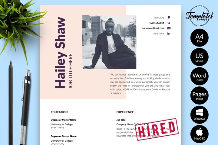 Modern Resume CV Template for Word & Pages Hailey Shaw