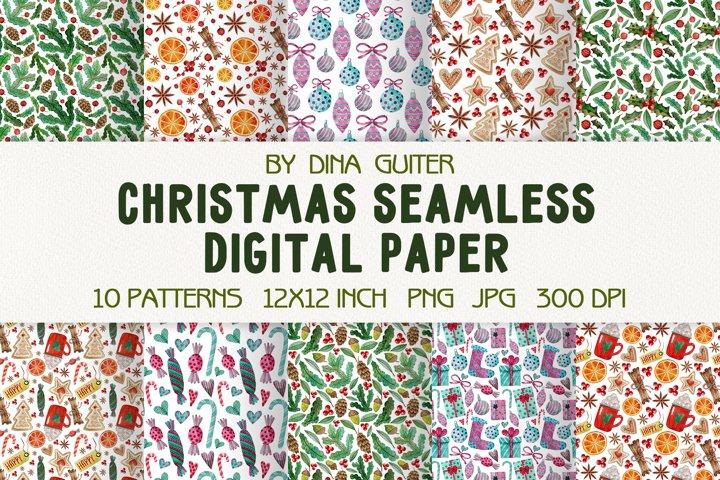 Watercolor Christmas seamless patterns. Digital paper set