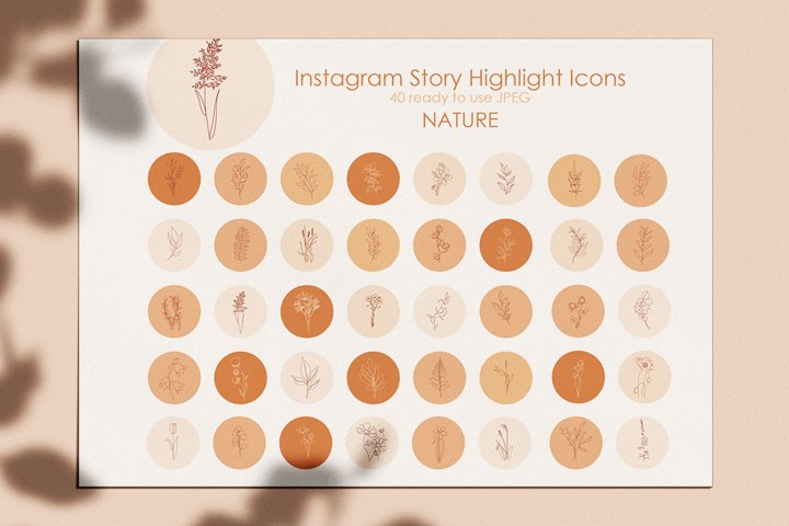 Nature Instagram Story Highlight Icons - Hand Drawn boho