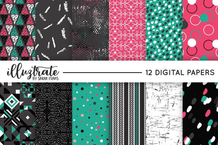 Pink and Teal Vector Pattern Set | Seamless Digital Papers |