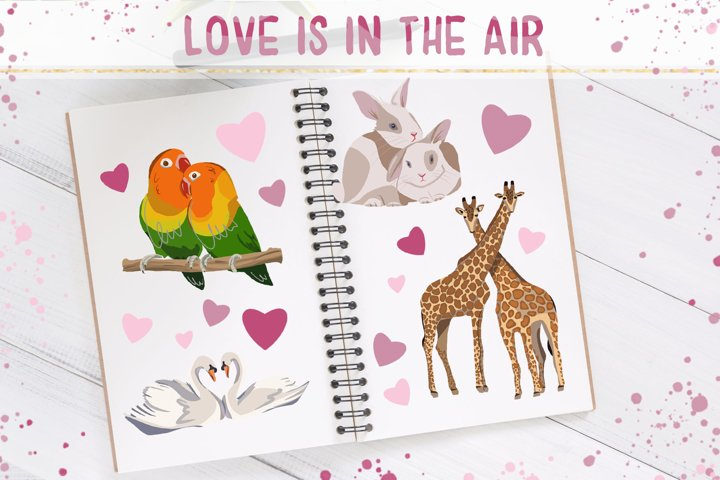 Love is in the Air - Clip Art Set and Stickers
