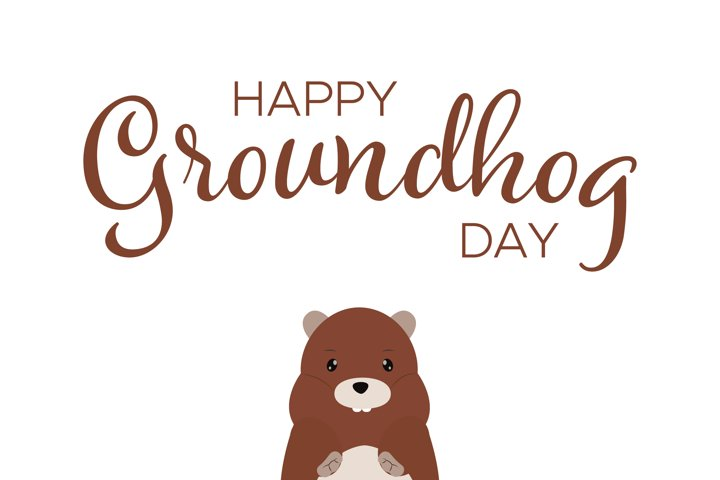 Happy Groundhog Day Handwritten Text With Cute Marmot
