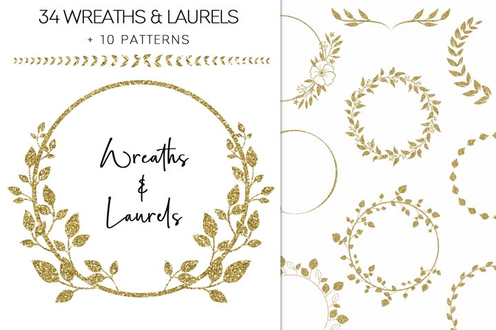 Gold Glitter Wreaths And Laurels Floral Clipart PNG