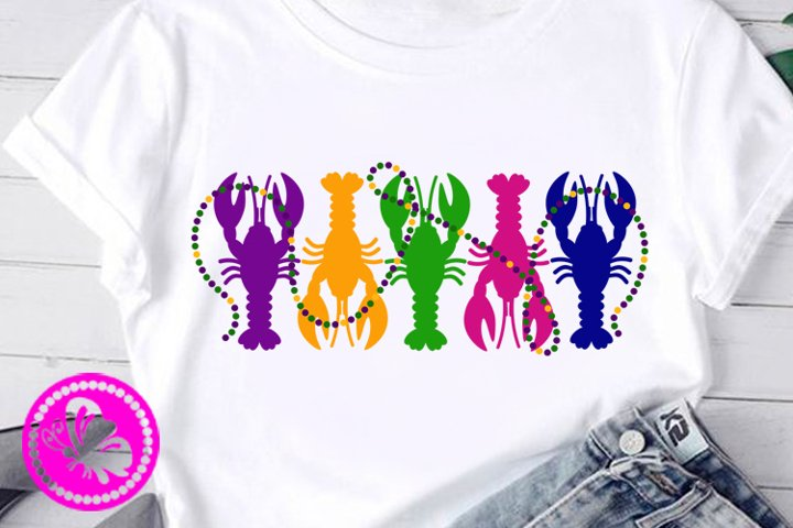 Mardi Gras decor 5 Crayfish svg lobster Beads Cricut Pdf Eps