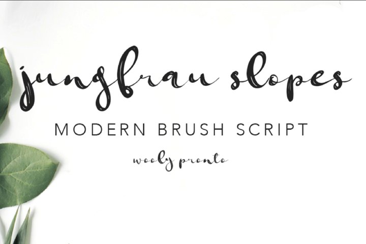 Jungfrau Slopes Modern Calligraphy Brush Script