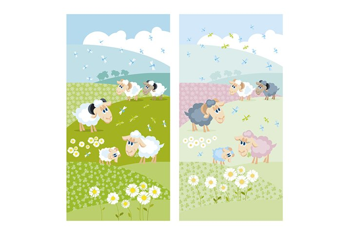 Cute sheep on green hills with white flowers