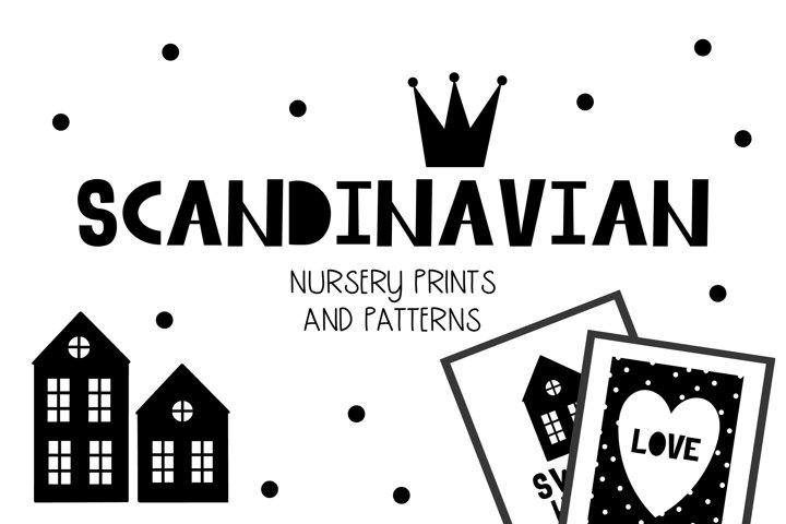 Scandinavian set of nursery prints and patterns