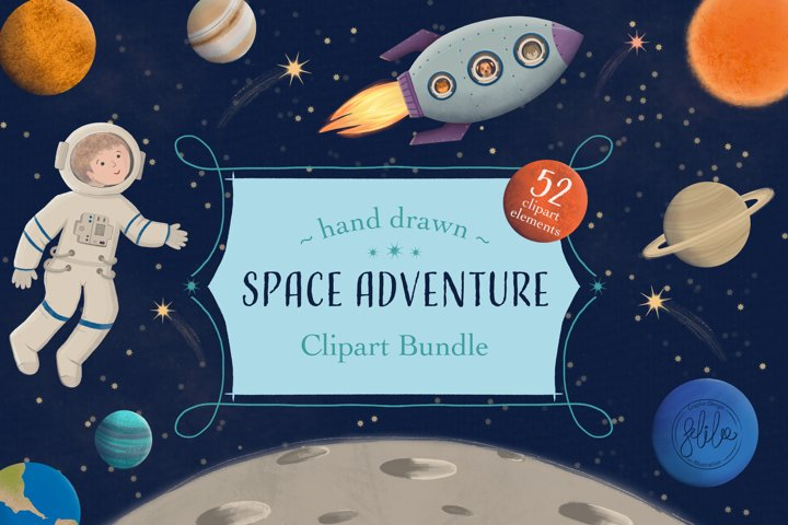 Space Adventure Clipart Bundle - Outer Space Fun Scenes