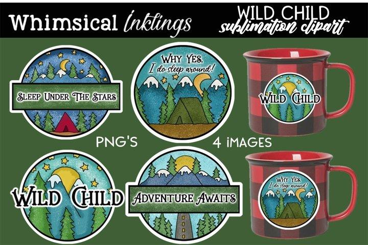 Wild Child Stickers Sublimation Clipart Set