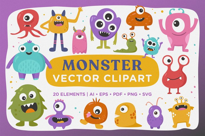 Cute Monster Vector Clipart Pack