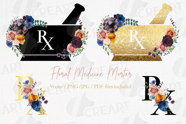 Colourful floral medicine mortar and pestle decor design.