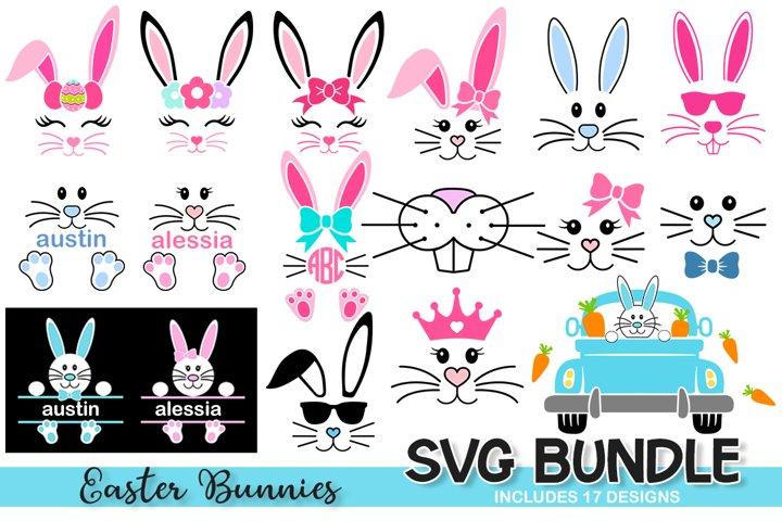 Easter Bunnies Bundle Svg, Easter Bunny Svg, bunny face svg