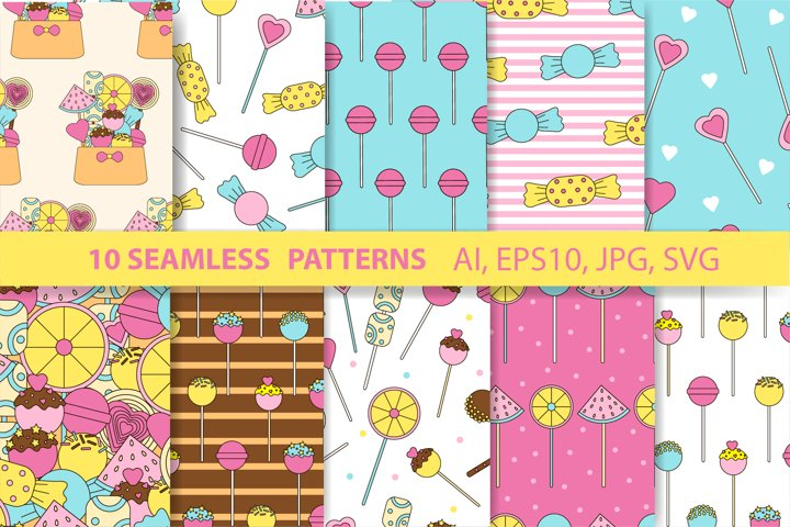 10 Candy seamless patterns. Lollipops backgrounds. Sweets.