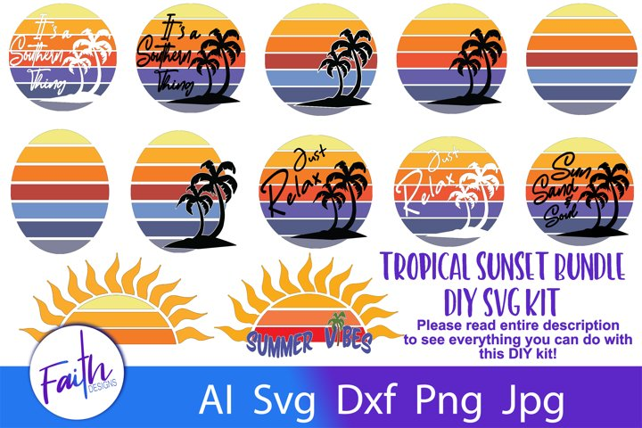 Tropical Sunset Bundle DIY Kit SVG