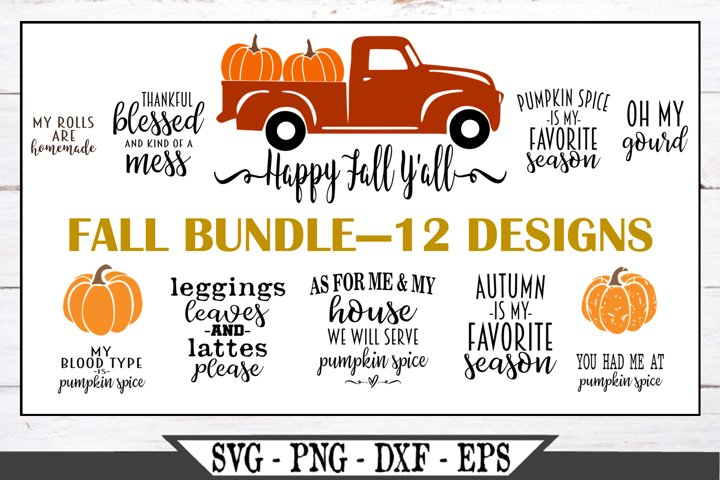 Fall and Autumn SVG Bundle of 12 Designs - Pumpkin Spice