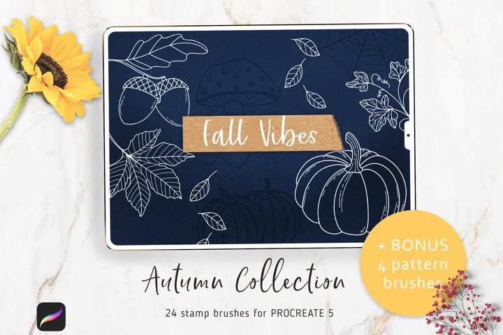 Autumn Stamp Brushes for Procreate 5, Pumpkin and Halloween