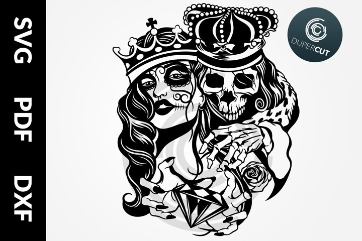 SVG / PDF / DXF Skull King, Papercutting Template