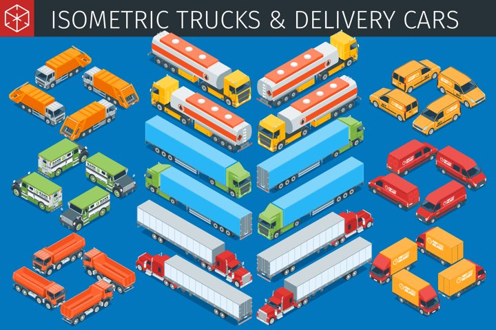 Isometric trucks and delivery cars collection