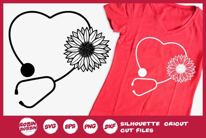 Stethoscope SVG - Heart SVG - Sunflower SVG - Nurse