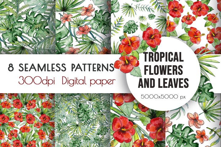 Watercolor tropical leaves & flowers seamless pattern.