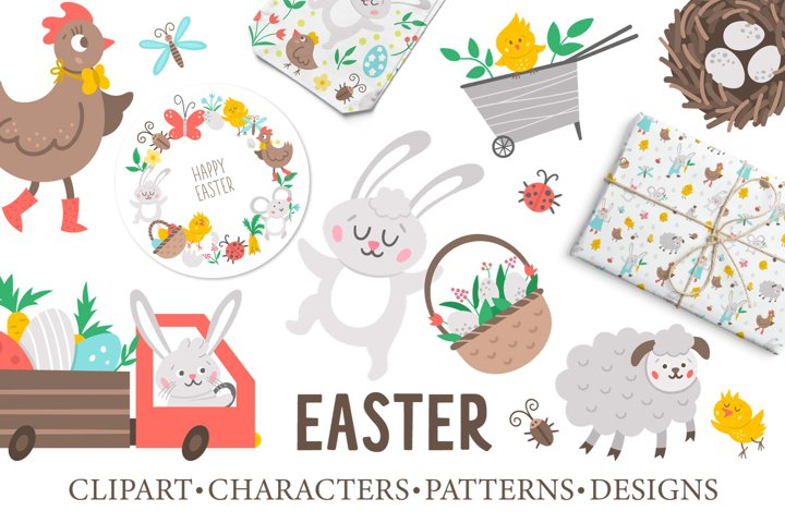 Easter clipart, characters, patterns, designs