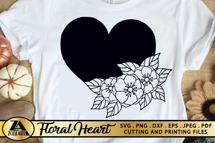 Flower Heart SVG PNG EPS DXF Flower SVG Floral Heart SVG