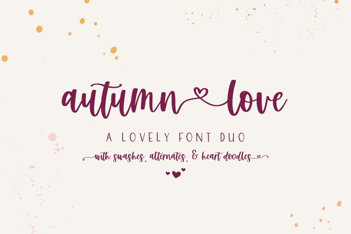 Autumn Love Font Duo with Heart Swashes