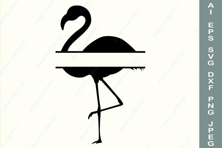 Flamingo split monogram svg, Family name svg, Tropical frame