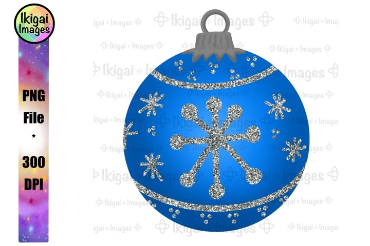 Blue Glitter Ornament, Christmas Bauble, PNG for Sublimation