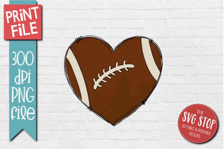 Football Doodle Heart Sublimation Design PNG example
