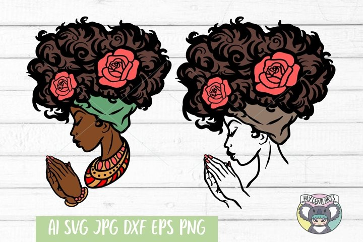Praying Black Woman svg, Afro svg, Cricut Cut Files, dxf png