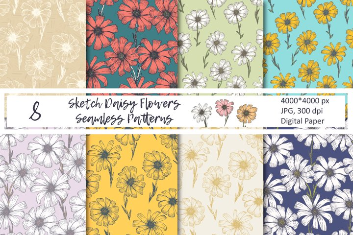 Sketch Daisy Flowers Seamless Patterns