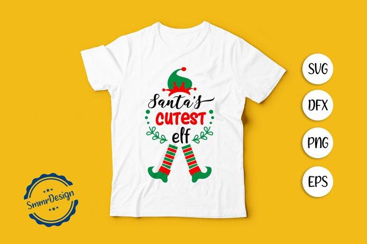 Santas Cutest ELF SVG Cut file.