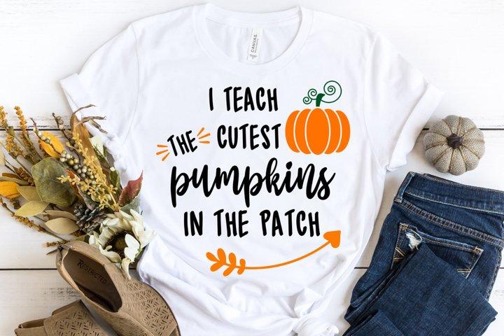 I Teach The Cutest Pumpkins in The Patch SVG - Fall Teacher