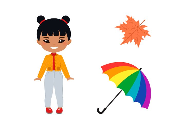 Doll with umbrella in outerwear
