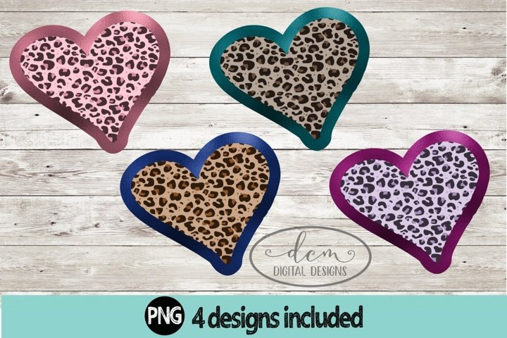 Leopard Foil Hearts Sublimation Backgrounds PNG designs